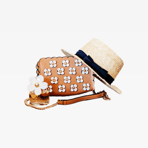Brown Sun Hat On Brown And White Floral Sling Bag