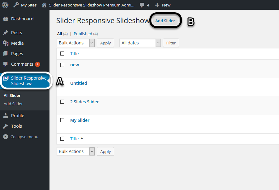 Add Slide (Slider Responsive Gallery)