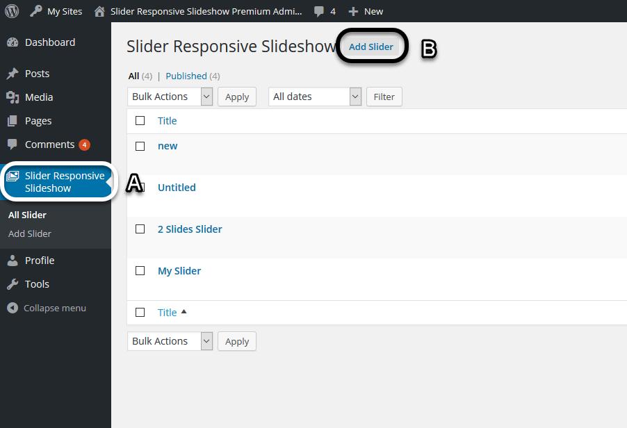 Add Slide (Slider Responsive Gallery)