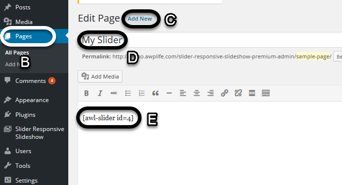 Add slider on page or post 6(Slider Responsive Gallery)