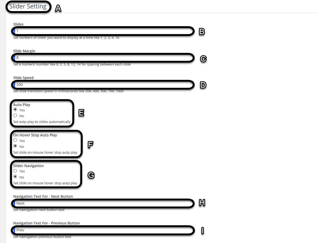 Slider Settings (Slider Responsive Gallery)