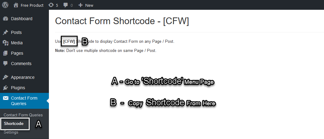Copy Shortcode Contact Form