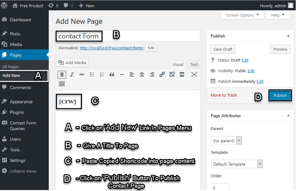 Showing Contact Form on Page