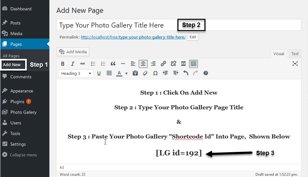 Showing Photo Gallery on Page