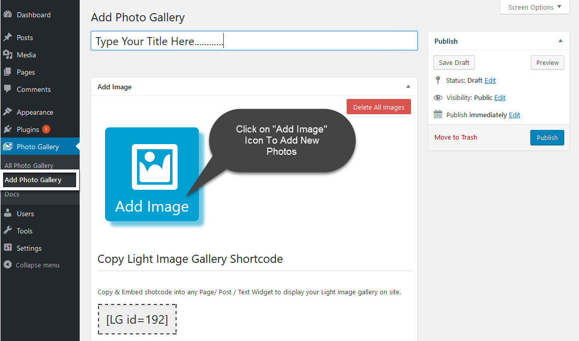 Adding Photos Images to Gallery