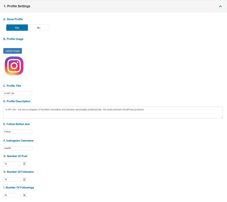 instagram type gallery prmeium a wp life docs 1 profile settings