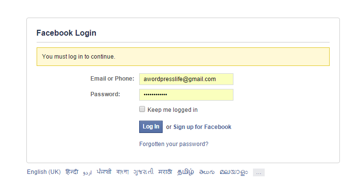 facebook-login-form