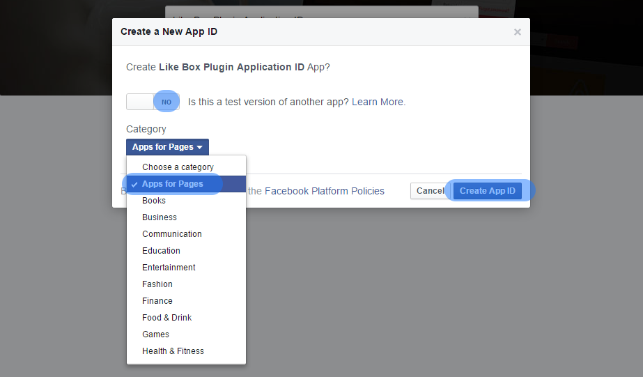 Select Facebook Application Category