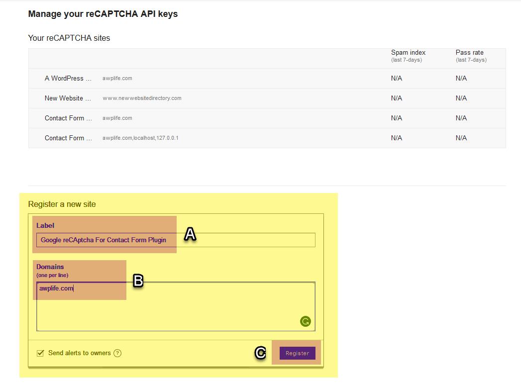 Manage your reCaptcha API Keys