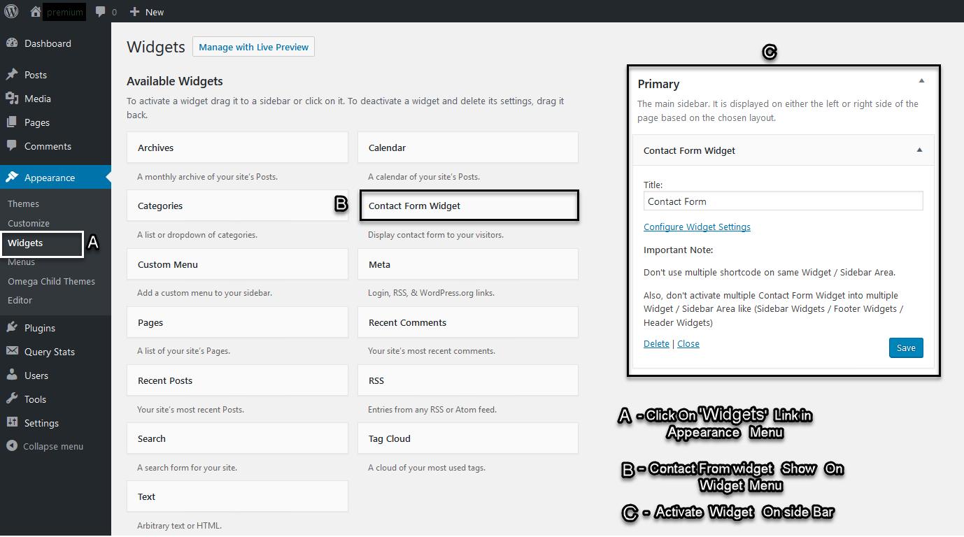 ActivatingContact Form widget