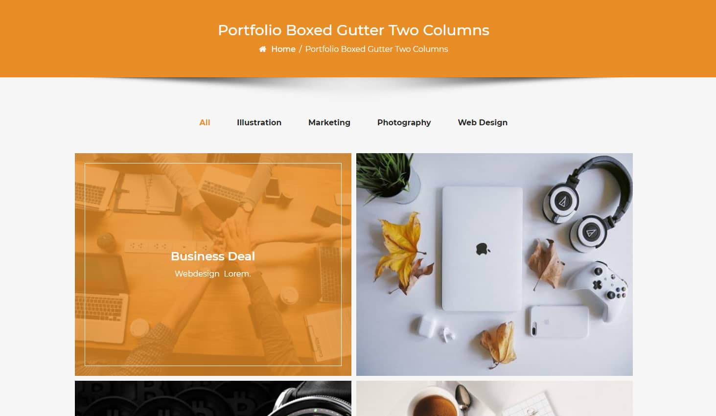 Crypto Premium WordPress Theme For Cryptocurrency Business and Blog Websites - A WP Life - Portfolio Boxed Tow Column Layout With Gutter Width Template