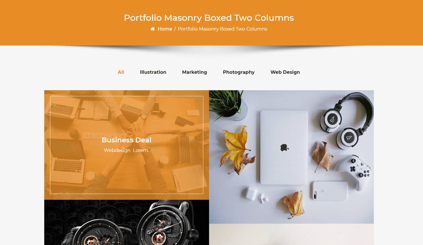 Crypto Premium WordPress Theme For Cryptocurrency Business and Blog Websites - A WP Life - Portfolio Masonry Boxed Two Column Layout Template