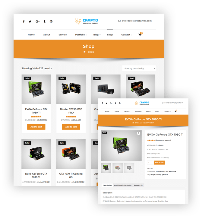 Crypto Premium WordPress Theme For Cryptocurrency – Shop Detail Image – A WP Life