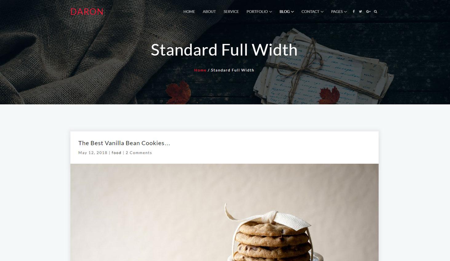 Daron premium wordpress theme blog fullwidth