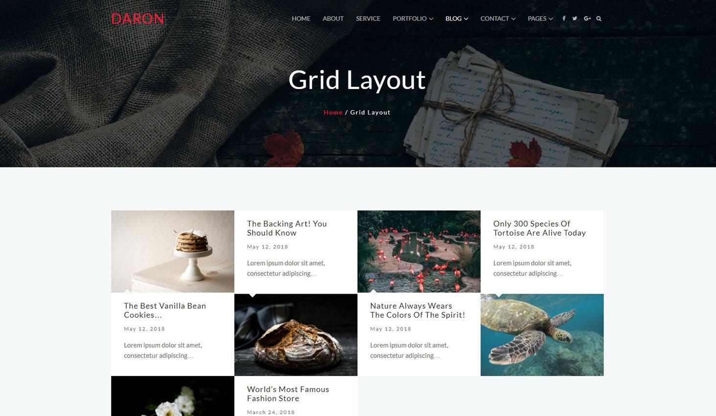 Daron premium wordpress theme blog grid layout