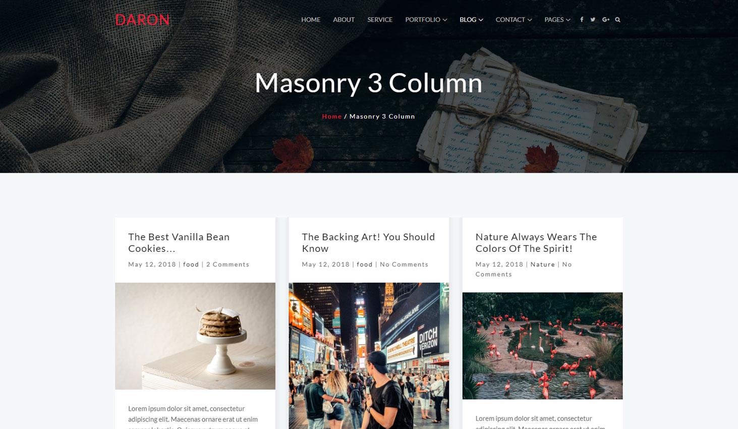 Daron premium wordpress theme blog masonry three column