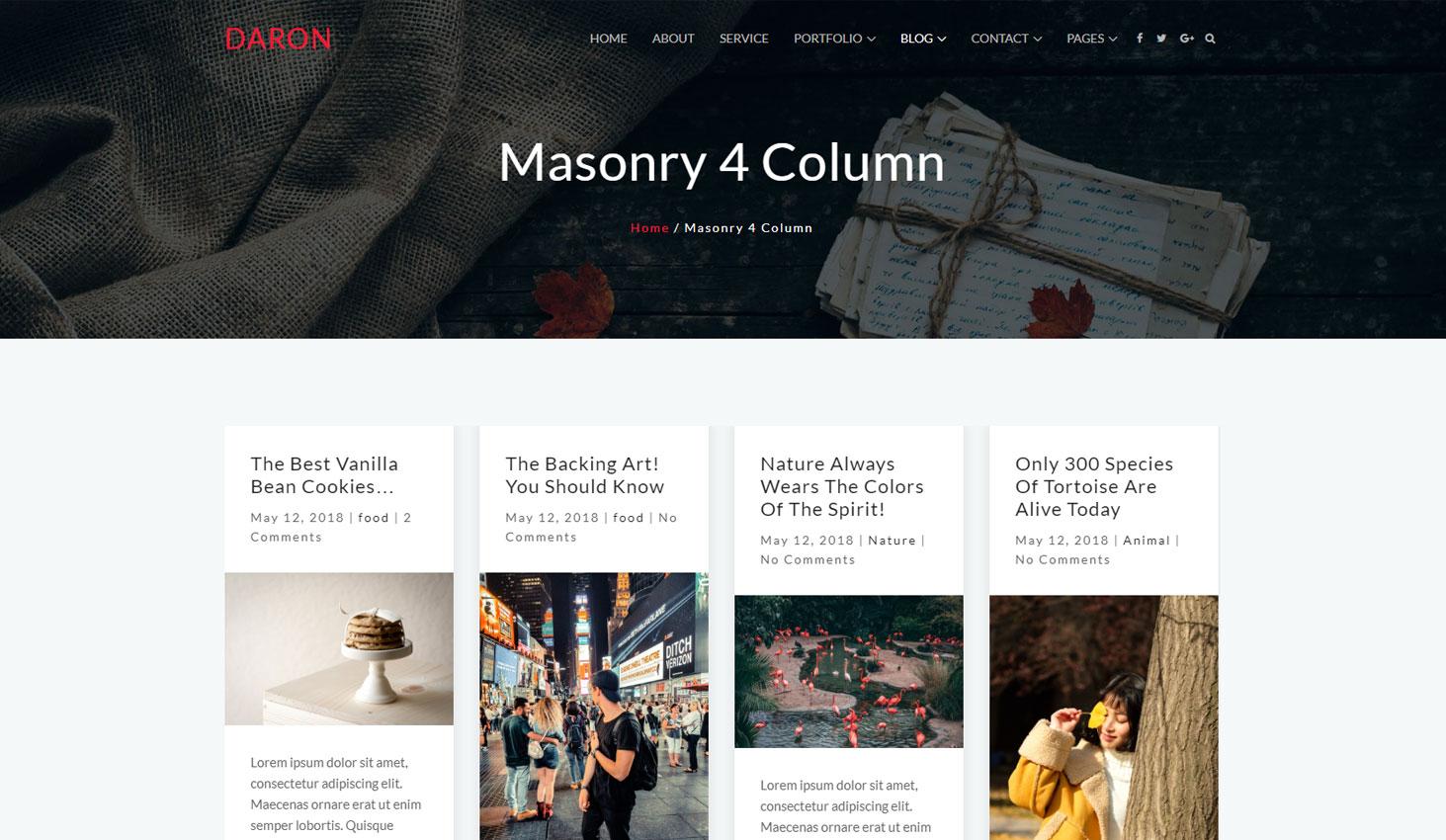 Daron premium wordpress theme blog masonry four column