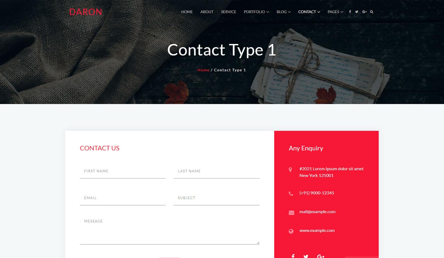 Daron premium wordpress theme contact one