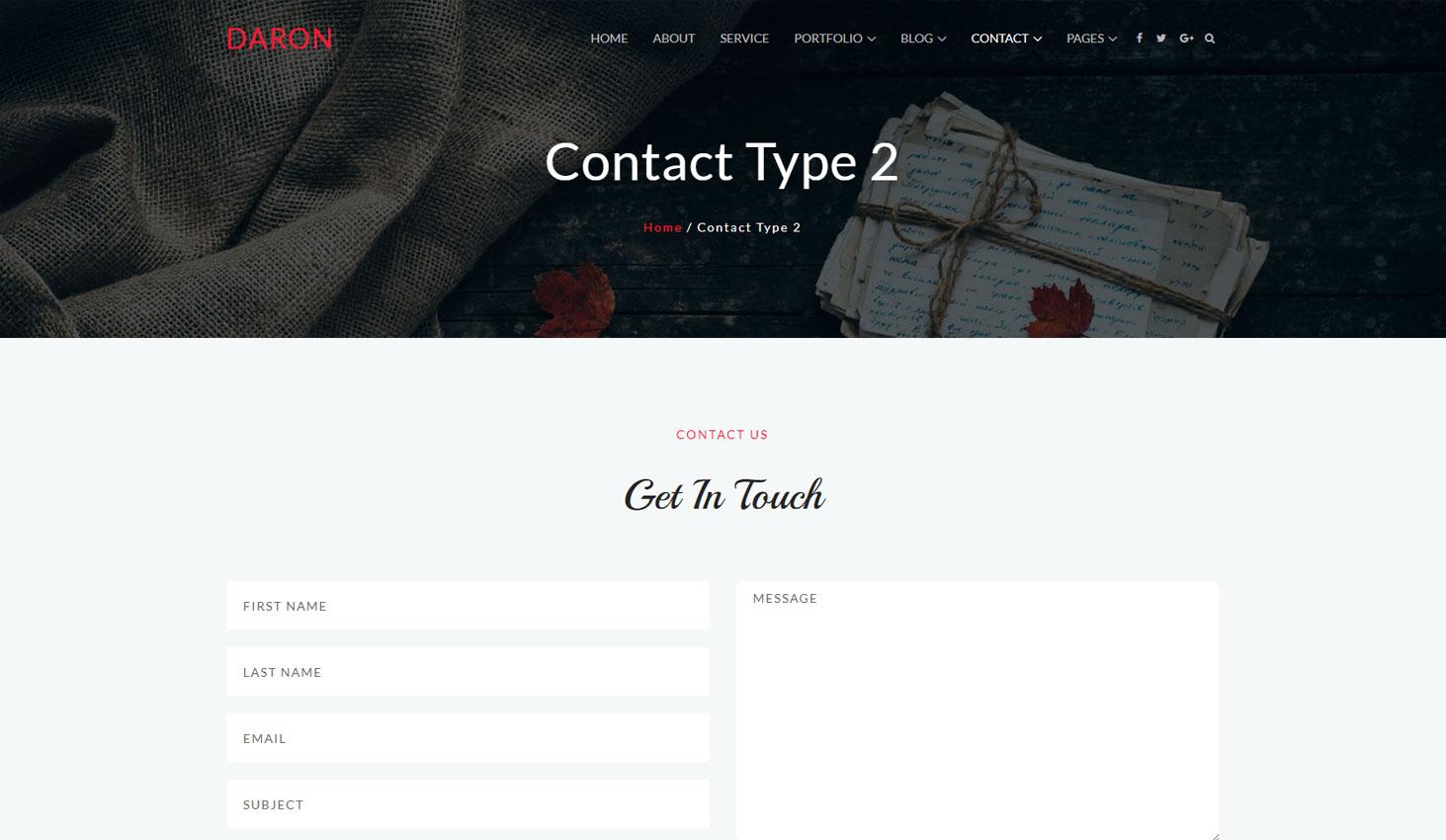Daron premium wordpress theme contact two