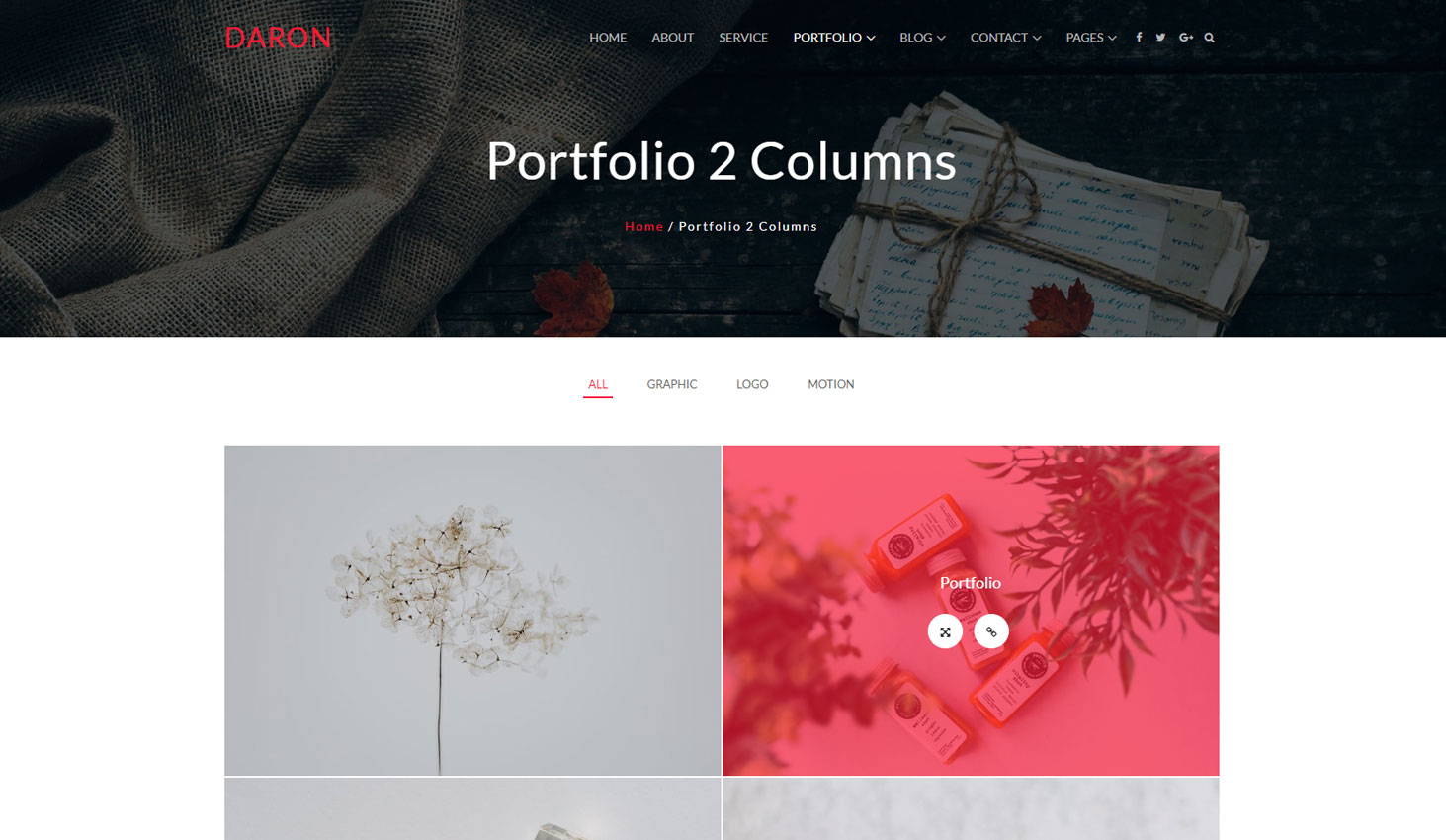 Daron premium wordpress theme portfolio two column