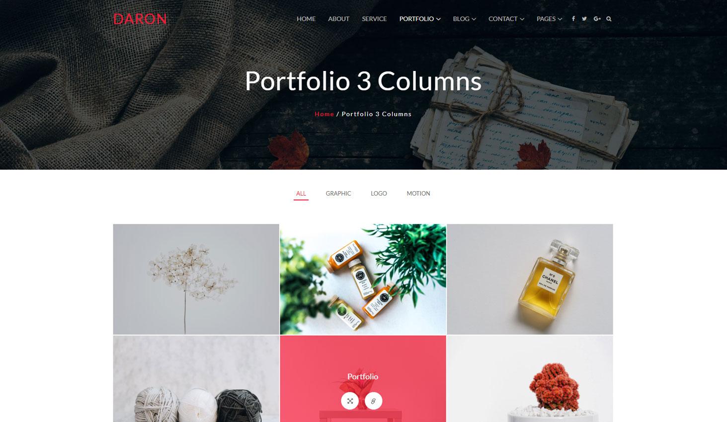 Daron premium wordpress theme portfolio three column