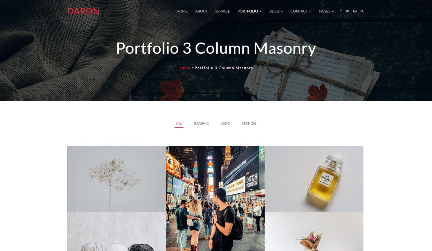 Daron premium wordpress theme portfolio three column masonry