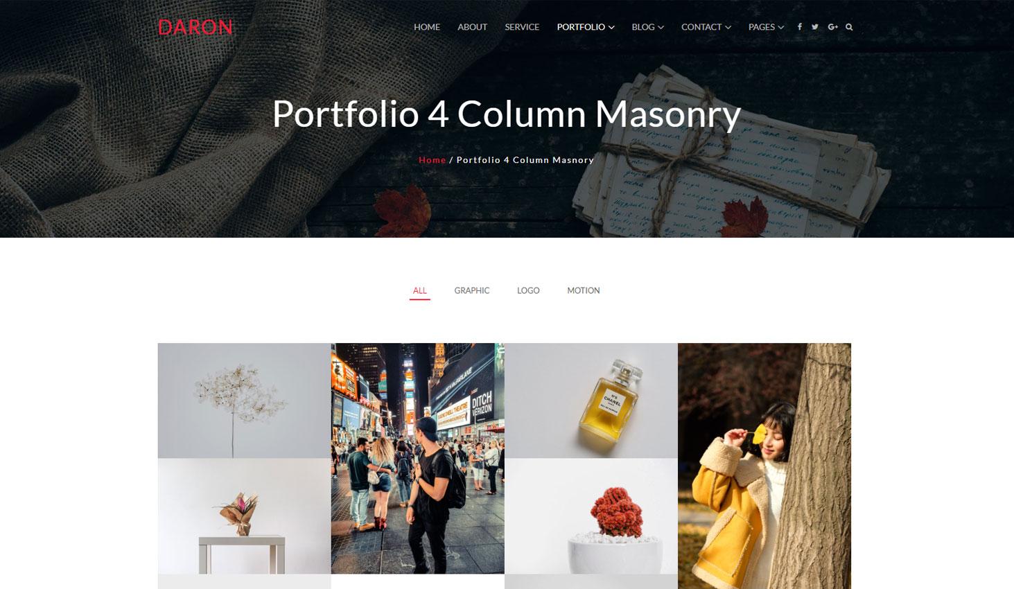 Daron premium wordpress theme portfolio four column masonry