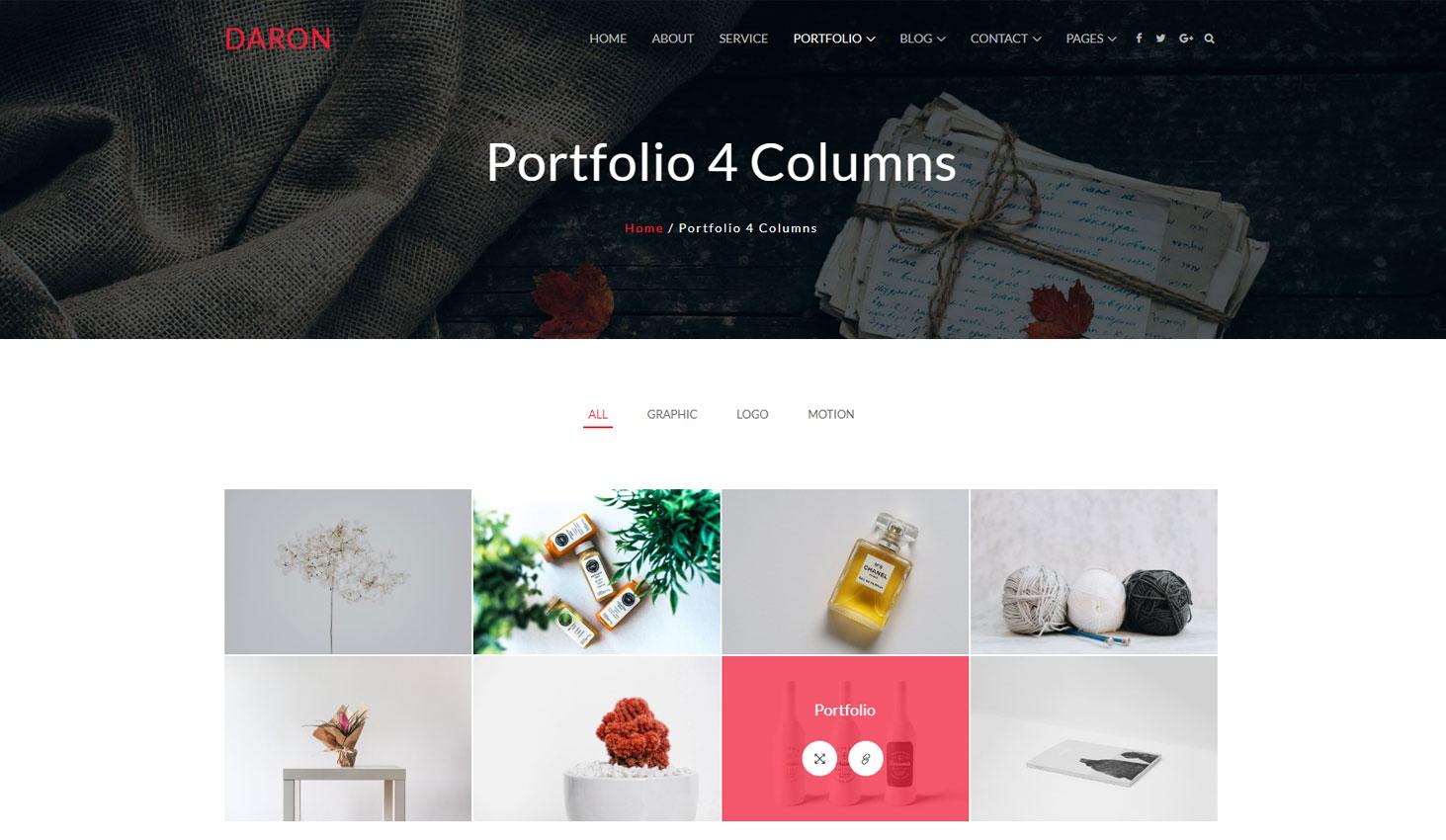 Daron premium wordpress theme portfolio four column