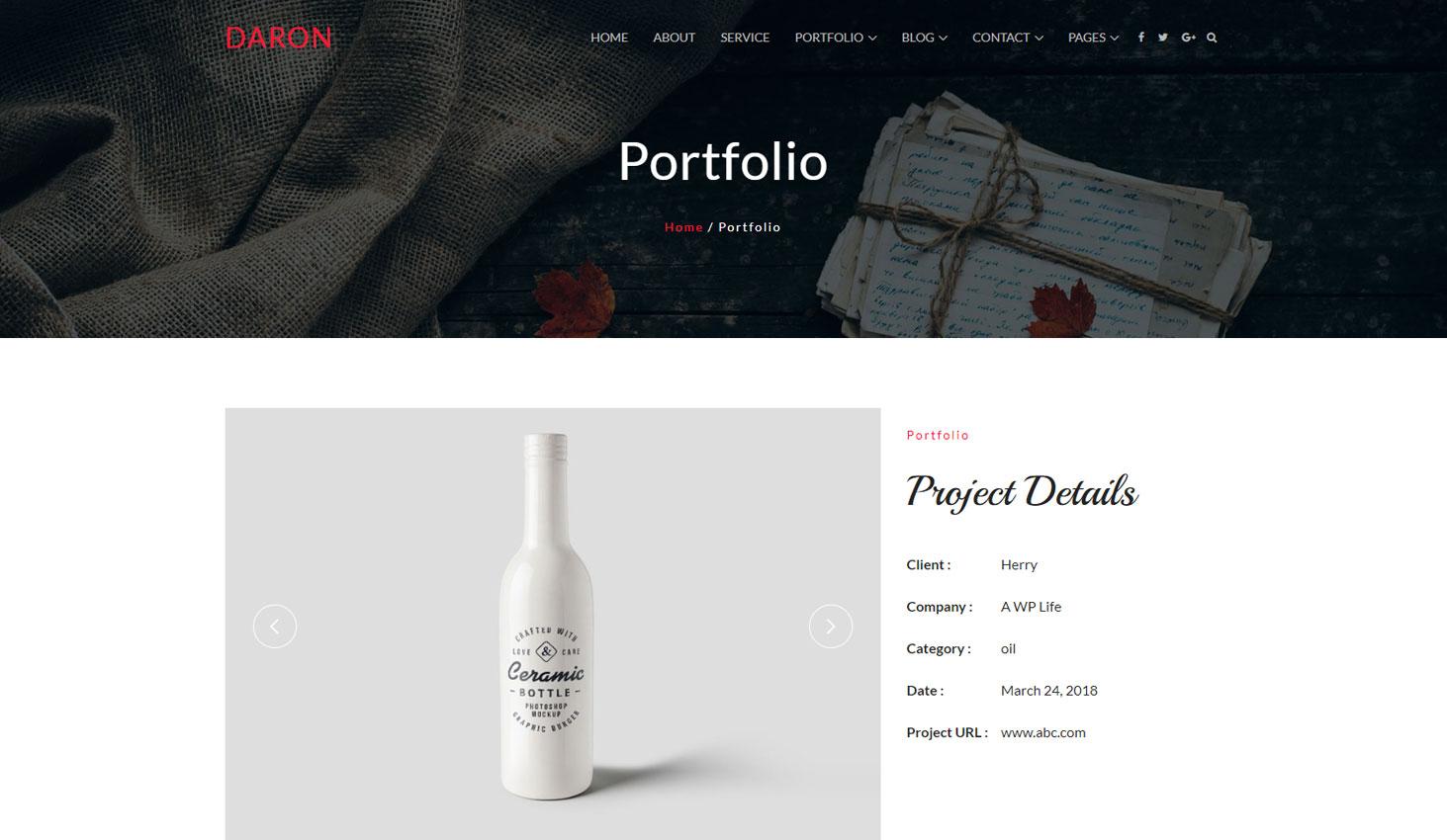 Daron premium wordpress theme portfolio detail