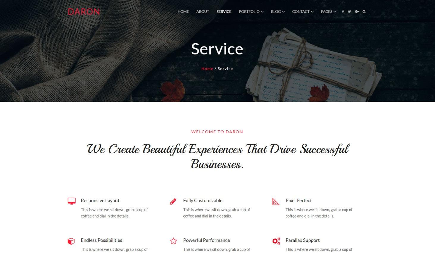 Daron premium wordpress heme service