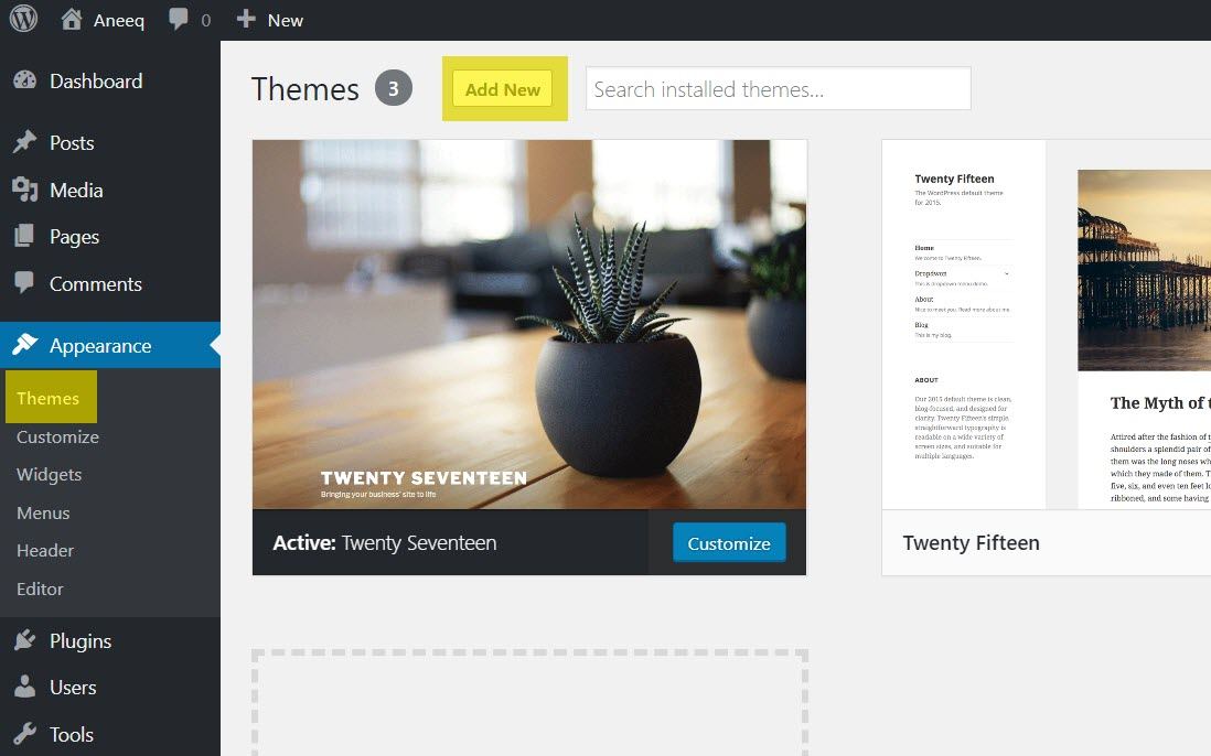 aneeq-wordpress-theme-add-new