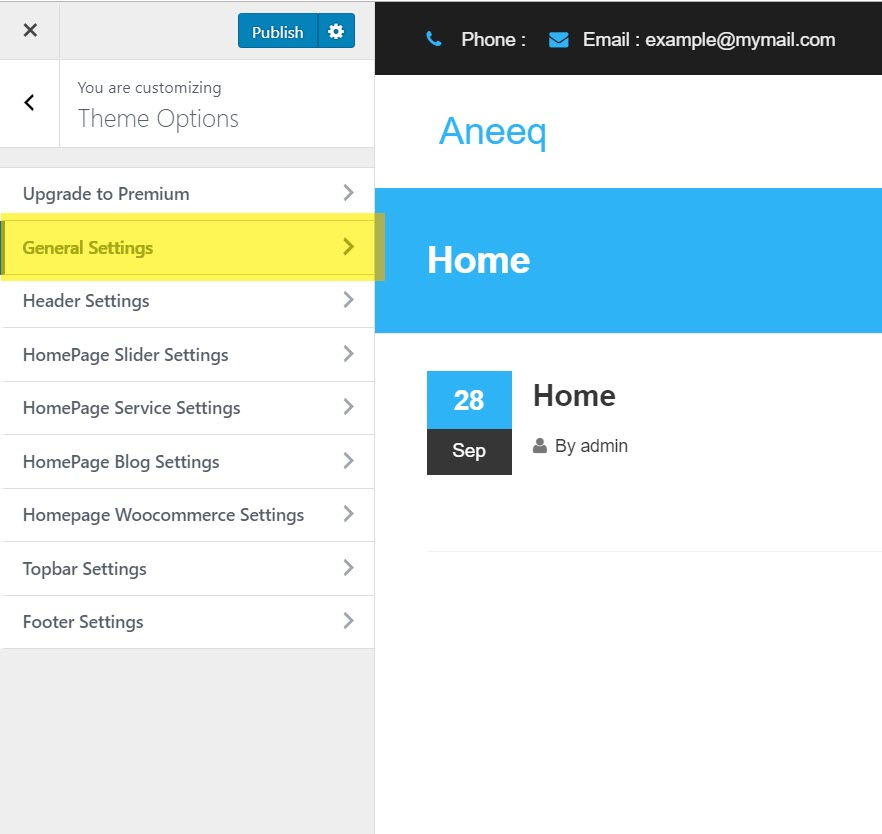 aneeq-wordpress-theme-homepage-general-settings