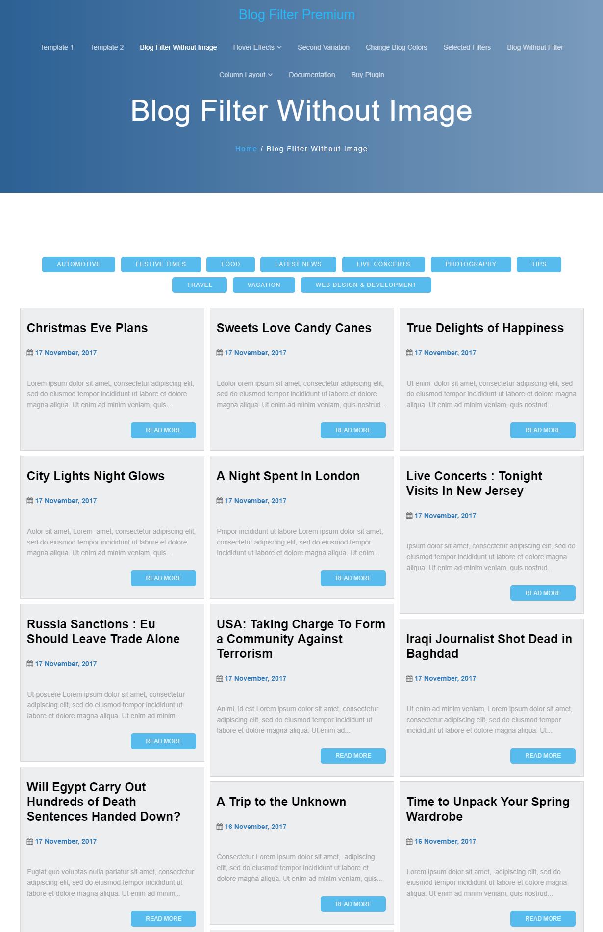 Blog Filter Premium
