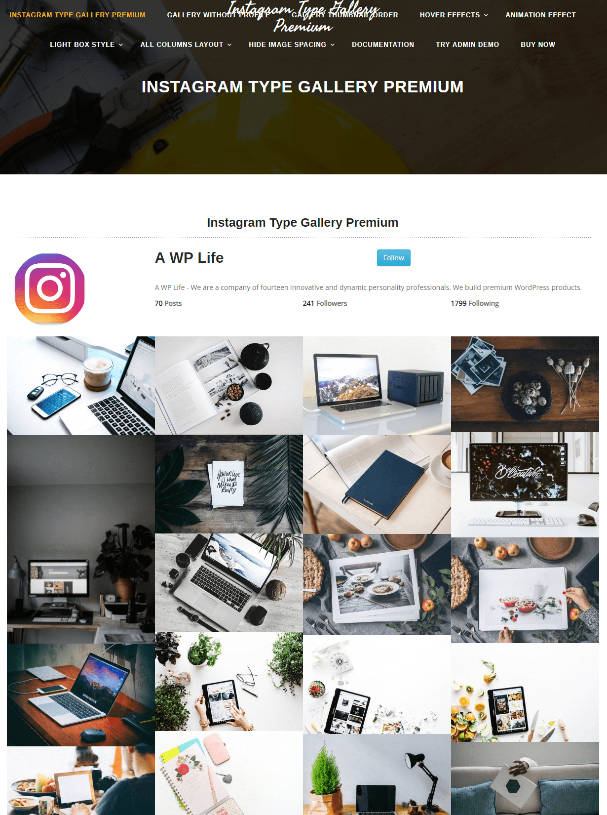 instagram type gallery