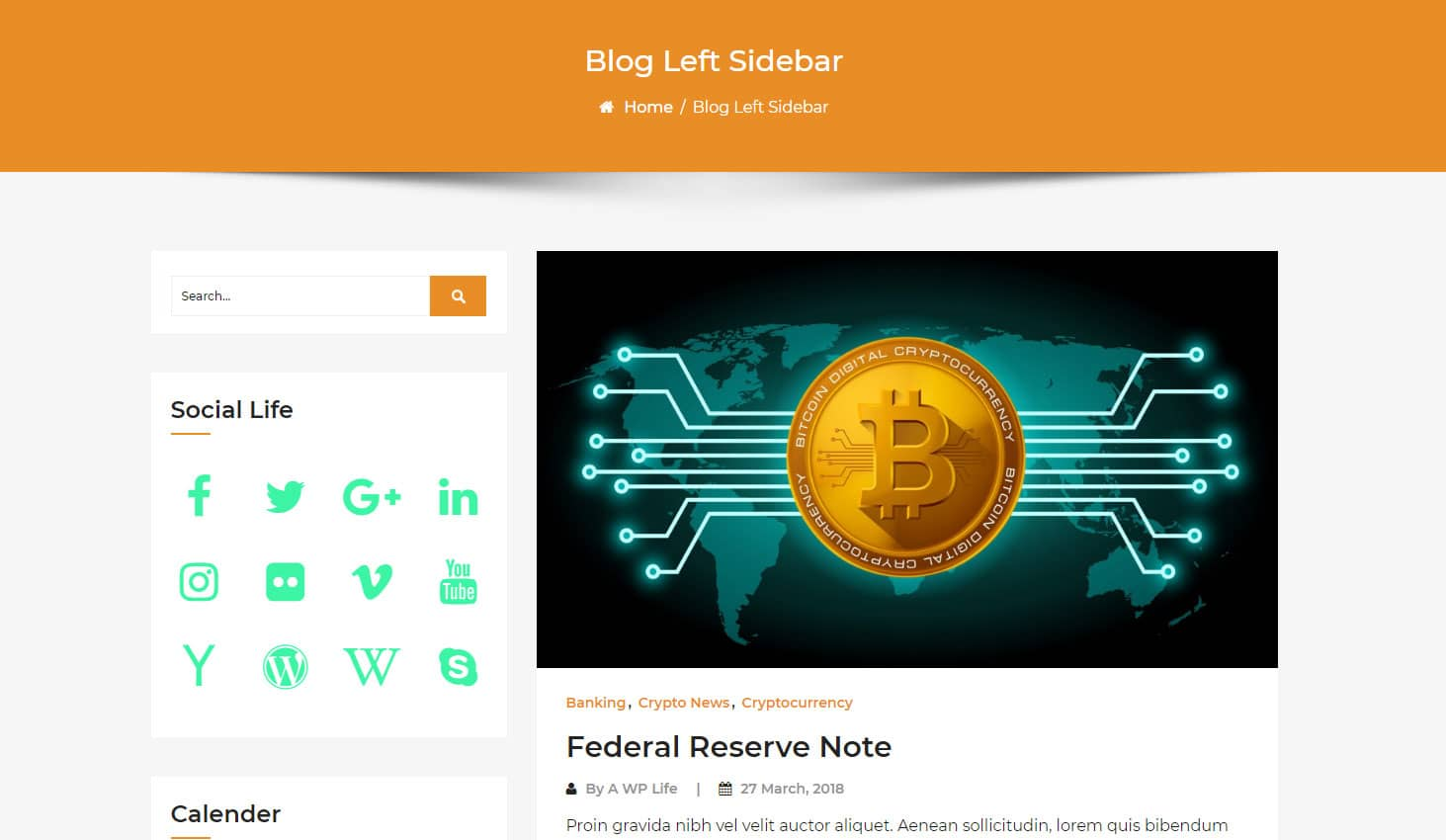 Crypto Premium WordPress Theme For Cryptocurrency Business and Blog Websites - A WP Life - Blog Left Sidebar Template