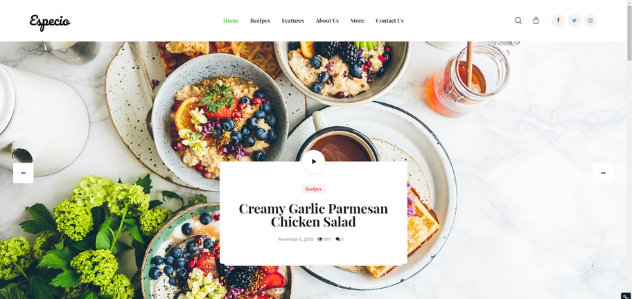 Especio Gutenberg Food Blog WordPress Theme
