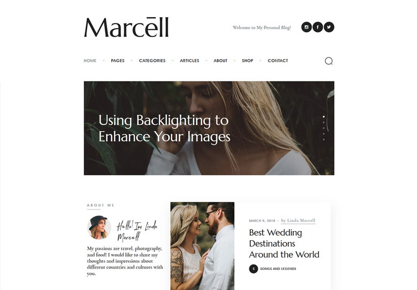 Marcell Personal Blog & Magazine WordPress Theme