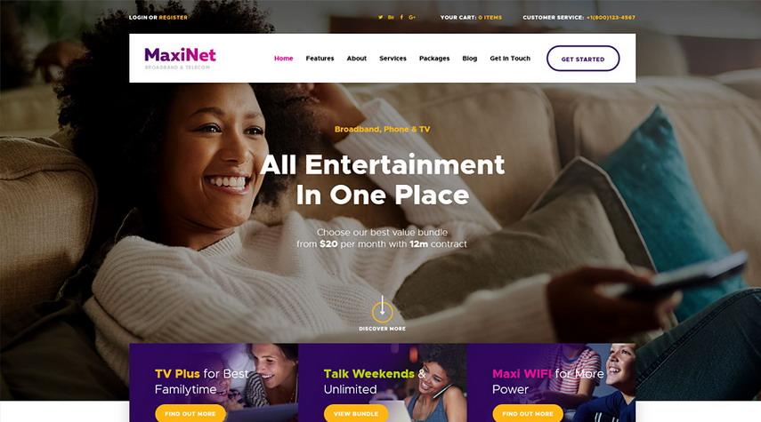 MaxiNet Broadband & Telecom WordPress Theme