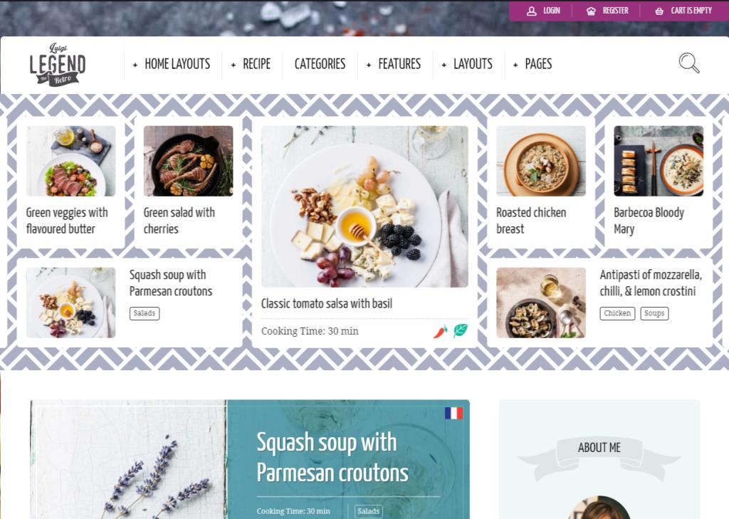 Neptune WordPress theme for food blog