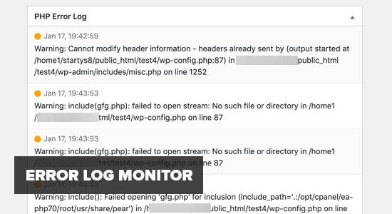 Error Log Monitor WP
