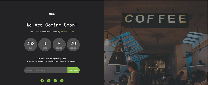 Soon – Free HTML5 Bootstrap Coming Soon Template
