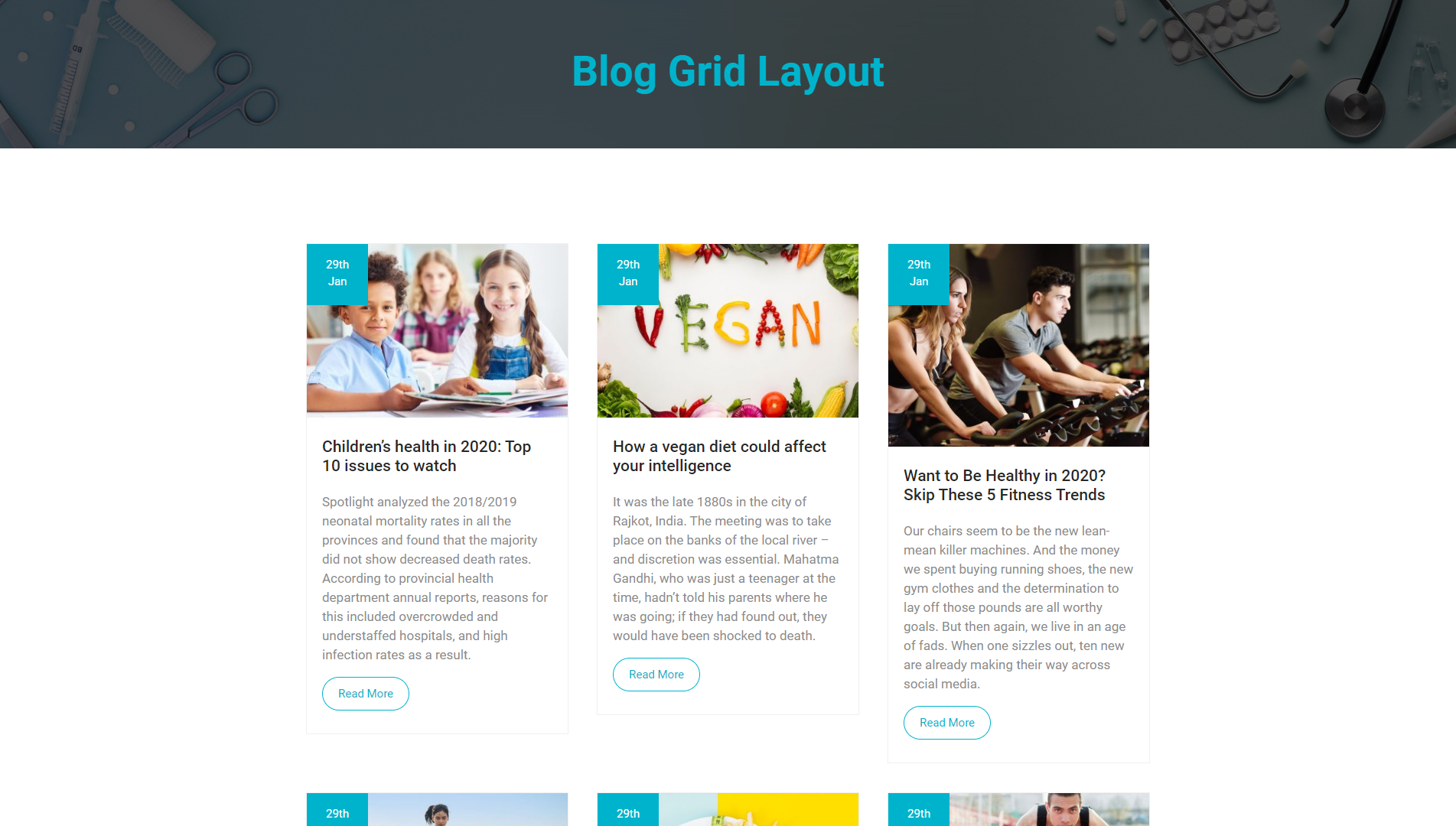 Blog Grid Layout - MediHealth Premium