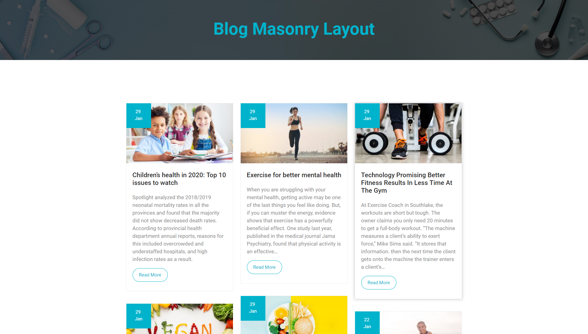 Blog Masonry Layout - MediHealth Premium