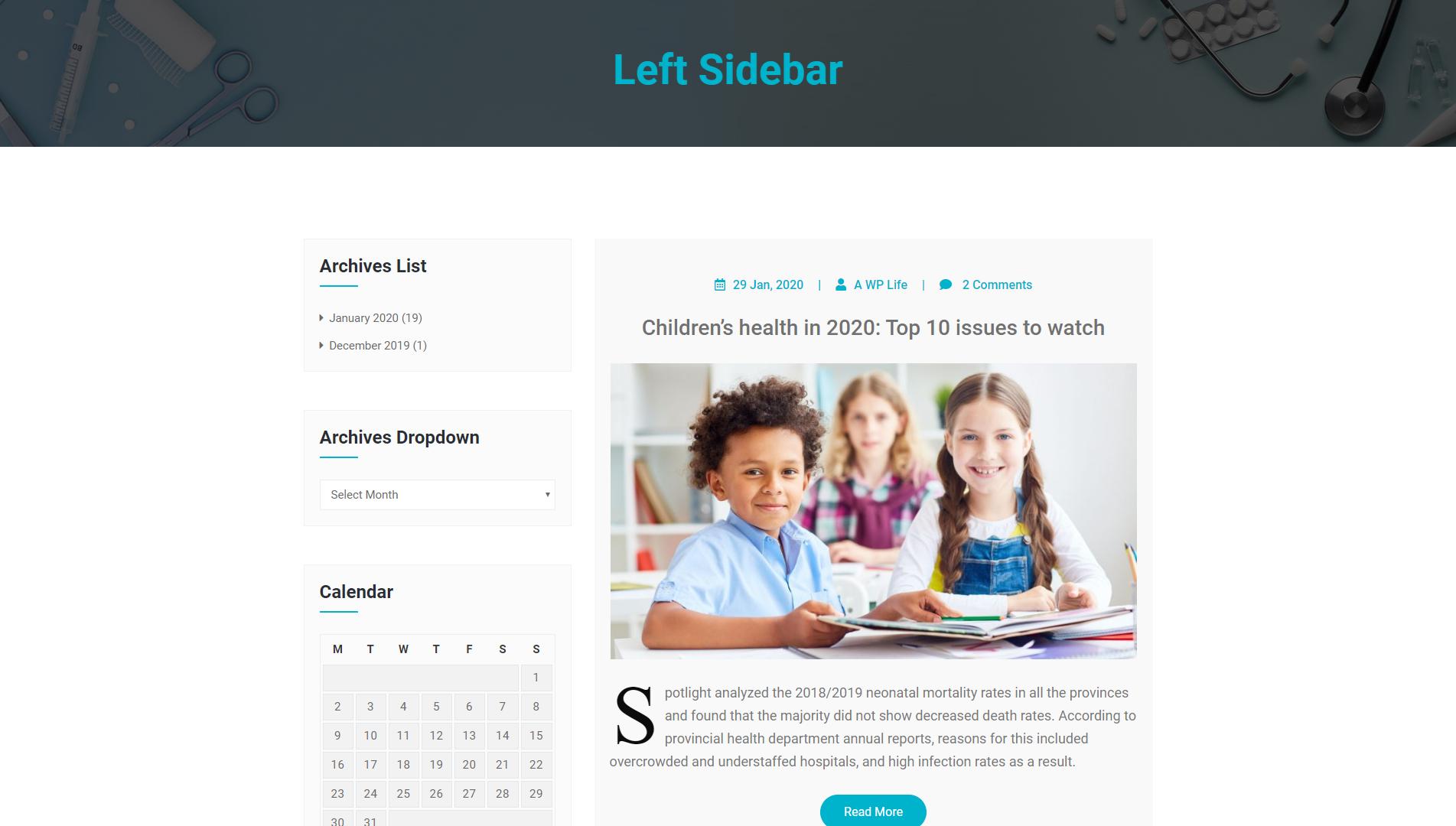 Left Sidebar - MediHealth Premium