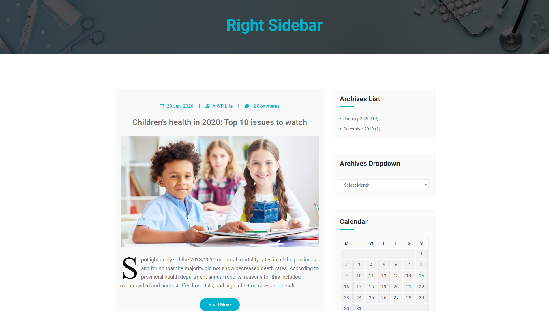 Right Sidebar - MediHealth Premium