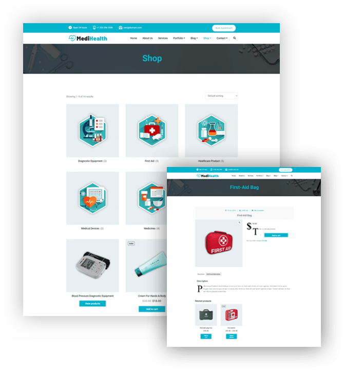 MediHealth Premium WordPress Theme WooCommerce Template