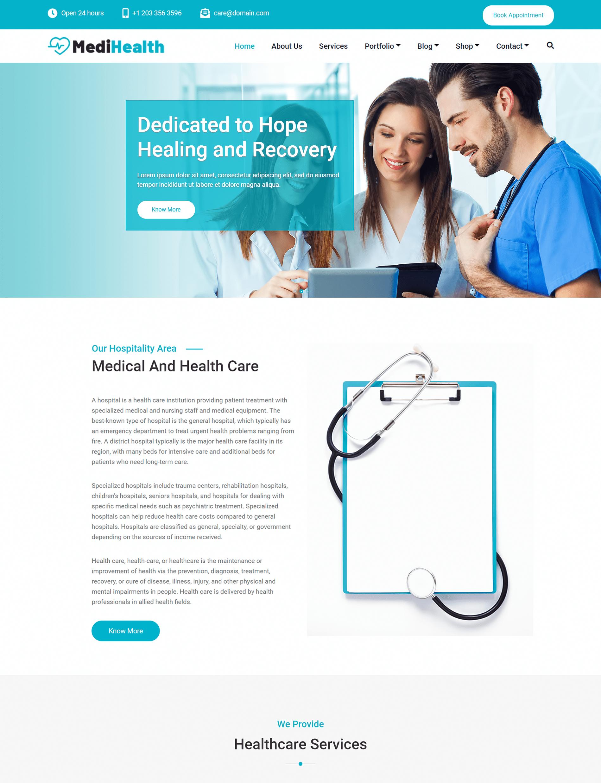 MediHealth WordPress Theme For Medical Healthcare Doctors