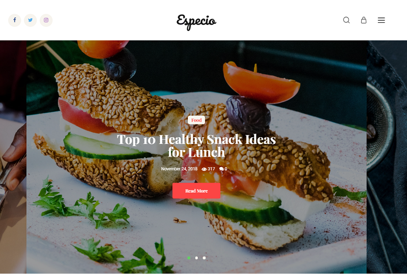 Especio - Gutenberg Food Blog WordPress Theme