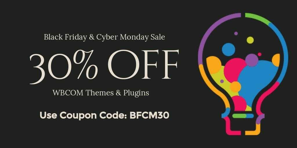 Wbcom Designs Black Friday 2020 Offer.