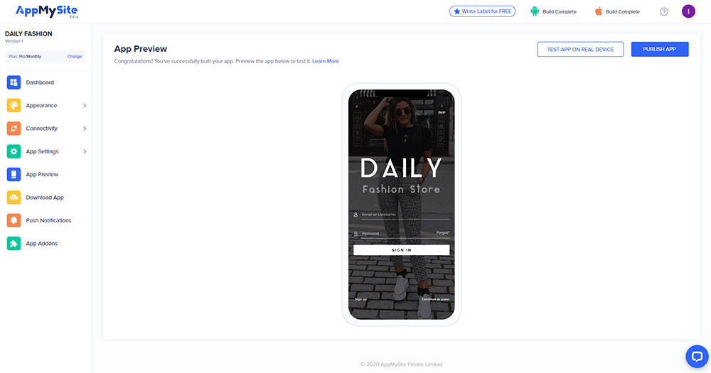 App preview and download